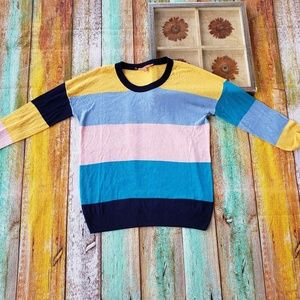 Modcloth Striped Color blocked Oversized Sweater S